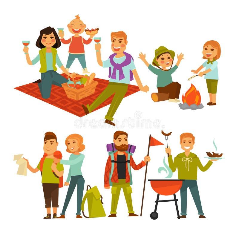La familia que camina acampada de la comida campestre o de la gente y la barbacoa vector iconos planos ilustración del vector