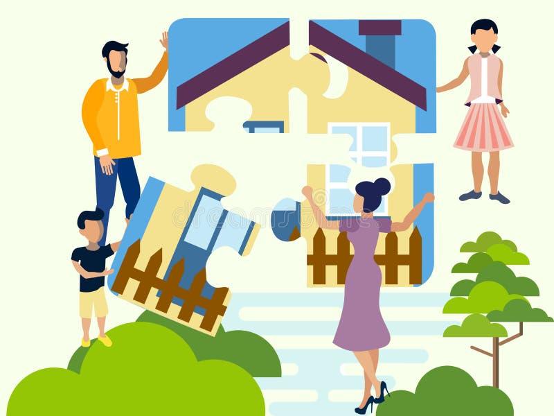 La familia recoge un rompecabezas, un símbolo de la comodidad de la familia, hogar Cuatro porciones de la casa r libre illustration