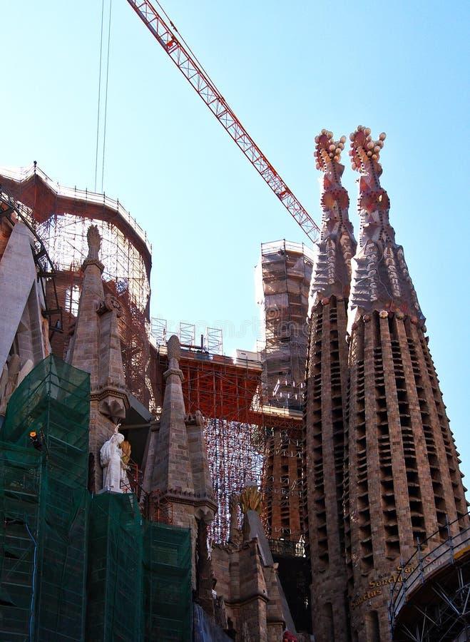 La Familia Sagrada, Onvolledige Basiliek, Barcelona, Spanje royalty-vrije stock foto's
