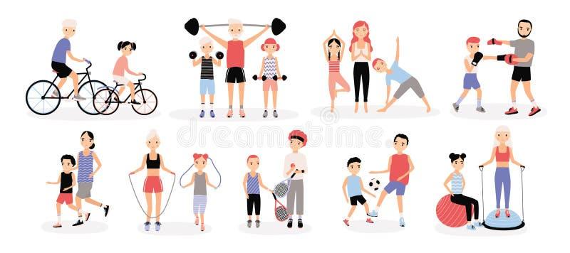 La familia se divierte la colección de la actividad Madres y padres con los niños fijados Bosu, levantamiento de pesas, boxeo, cu ilustración del vector