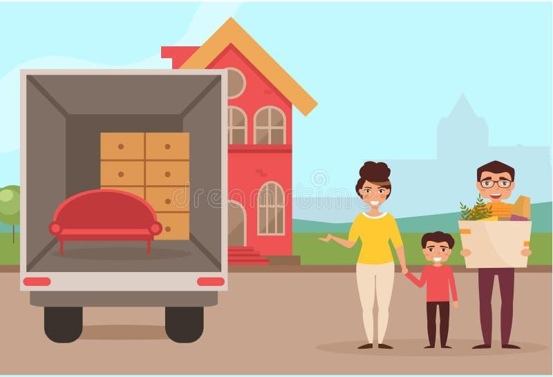 La familia se trasladó a una nueva casa stock de ilustración