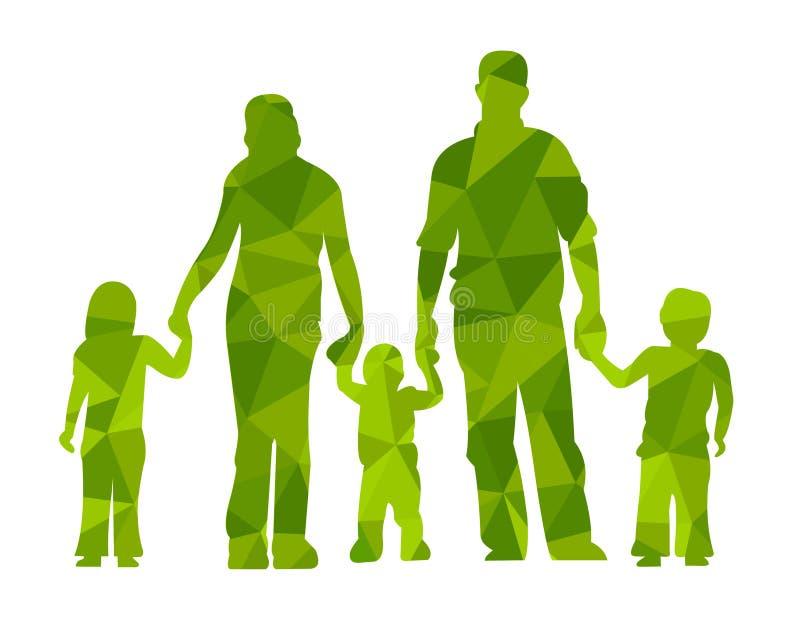 La familia siluetea a padres y los niños vector a gente del illustraion stock de ilustración