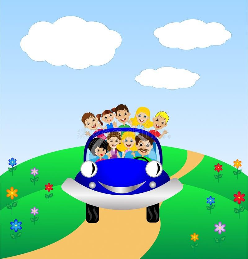 La familia va por resto en coche azul libre illustration