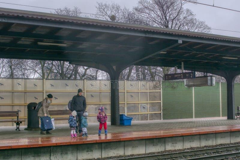 La familia viaja en tren con los niños foto de archivo libre de regalías