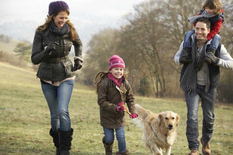 La familia y el perro en país caminan en invierno imagenes de archivo