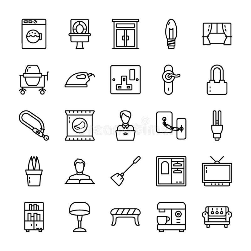 La familia y la línea casera iconos embalan ilustración del vector