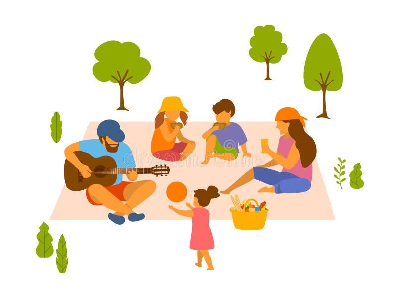 La famille au pique-nique en parc a isolé l'illustration de vecteur illustration libre de droits