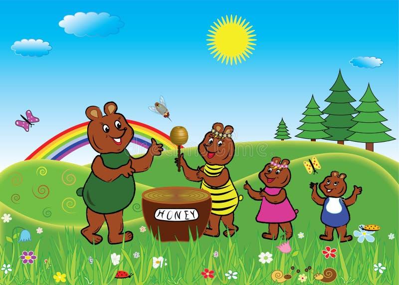 La famille d'ours mange du miel illustration de vecteur