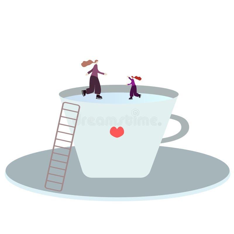 La famille de personnes, la mère et la fille minuscules, raies sur la glace sur des patins dans une grande tasse, une tasse d'un  illustration libre de droits