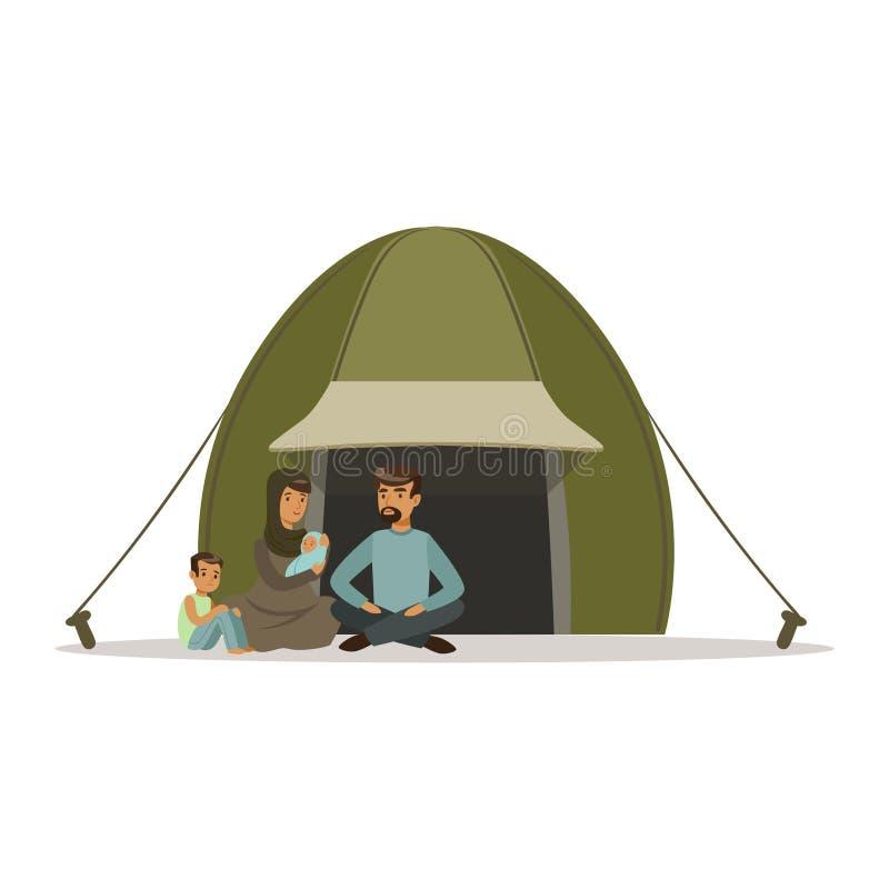 La famille de réfugié apatride vivant dans un camp, aide sociale pour des réfugiés dirigent l'illustration illustration de vecteur
