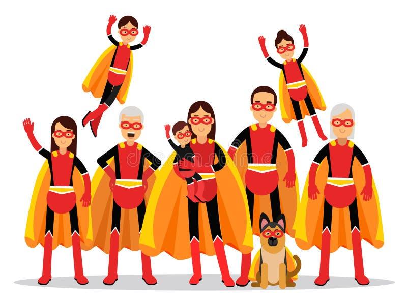 La famille des super héros, la grand-mère, le grand-père, la mère, le père, les enfants et le chien dans les caps oranges dirigen illustration stock