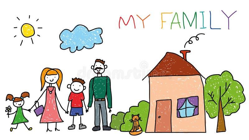 La famille heureuse avec des enfants, maison, enfants remettent le style de dessin, griffonnage photographie stock