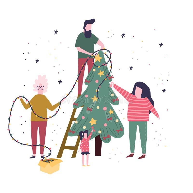 La famille heureuse décore un arbre de Noël ainsi que des bulles, des arcs et des guirlandes Illustration plate de bande dessinée illustration libre de droits