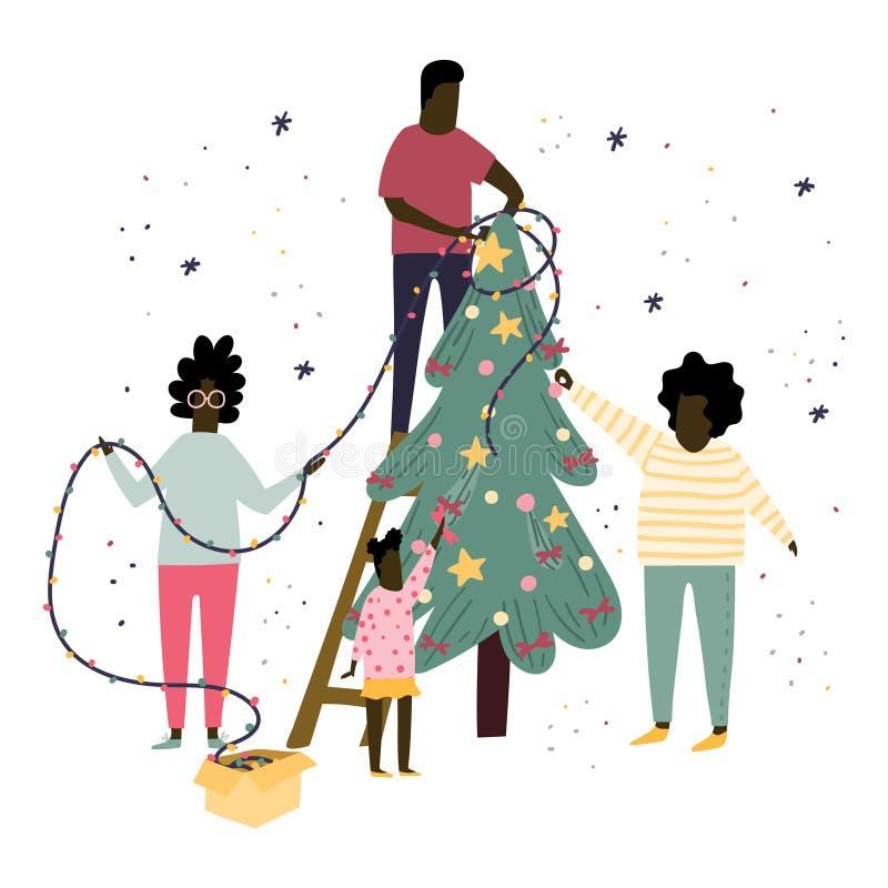 La famille heureuse décore un arbre de Noël ainsi que des bulles, des arcs et des guirlandes Illustration plate de bande dessinée illustration stock