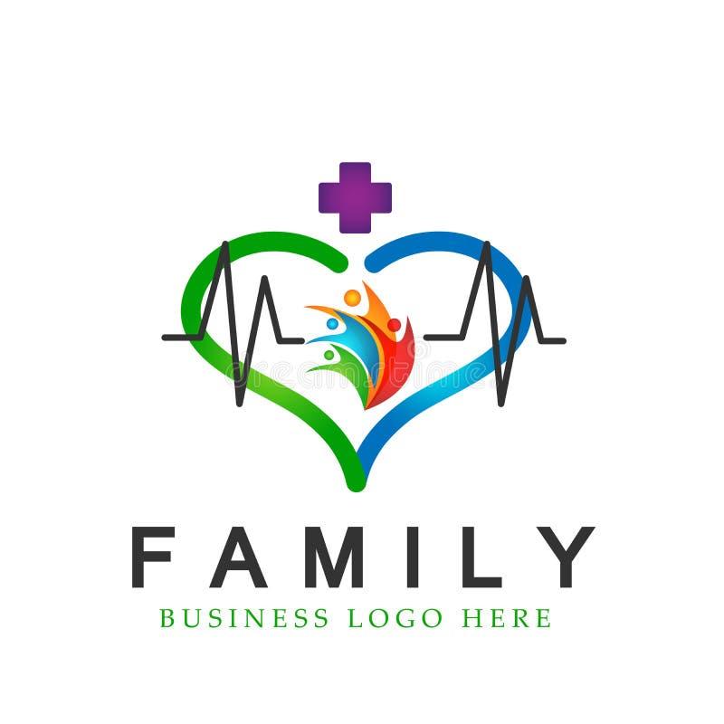 La famille heureuse dans le parent en bonne santé médical en forme de coeur de logo de croix de la vie badine l'amour, le soin, v illustration stock
