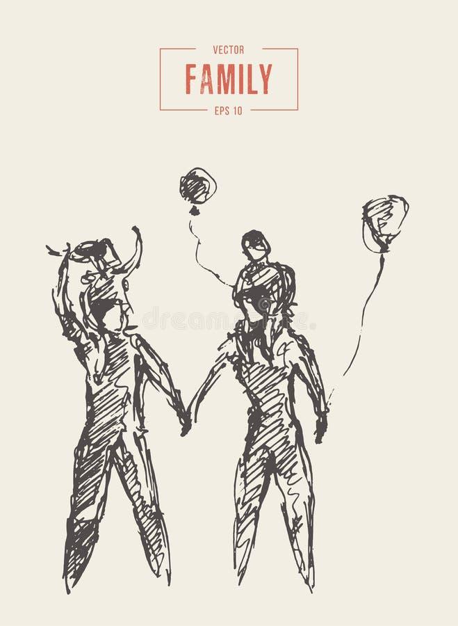 La famille heureuse marche ensemble le lecteur extérieur de mère illustration stock