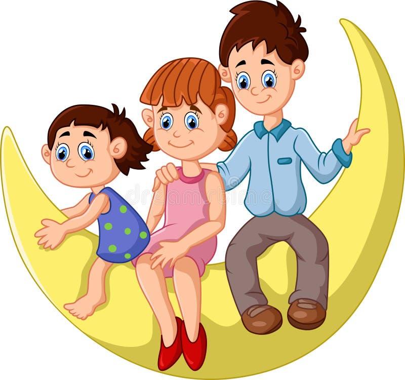 La famille heureuse s'asseyent sur la lune illustration libre de droits