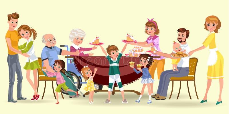 La famille mangeant le dîner à la maison, les personnes heureuses mangent de la nourriture grand-père de festin ensemble, de mama illustration stock