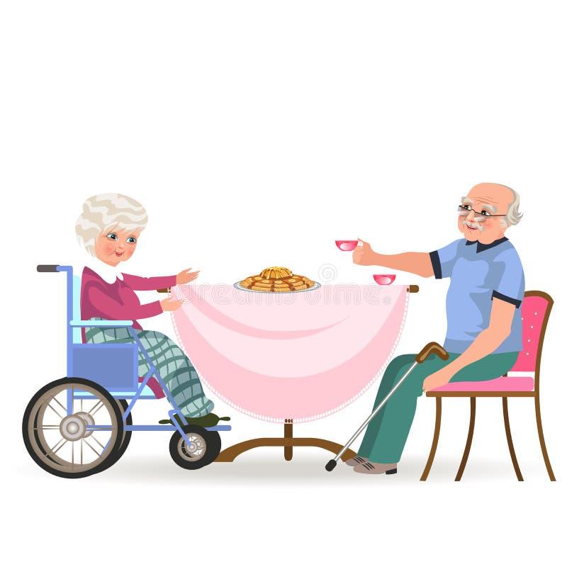 La famille mangeant le dîner à la maison, les personnes heureuses mangent la nourriture ensemble, la maman et le papa s'asseyant  illustration libre de droits