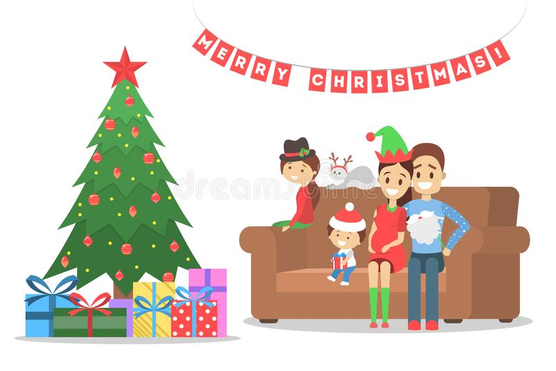 La famille ont l'amusement ensemble à l'arbre de Noël illustration de vecteur