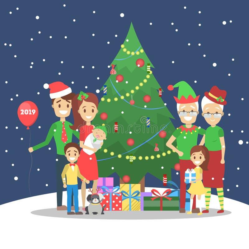 La famille ont l'amusement ensemble à l'arbre de Noël illustration stock