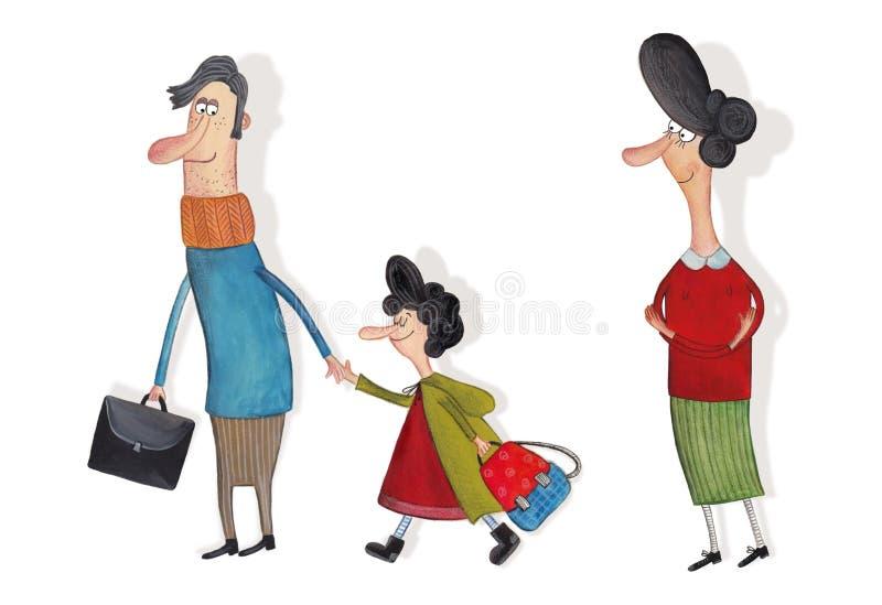 La famille Personnages de dessin animé au-dessus de blanc illustration libre de droits