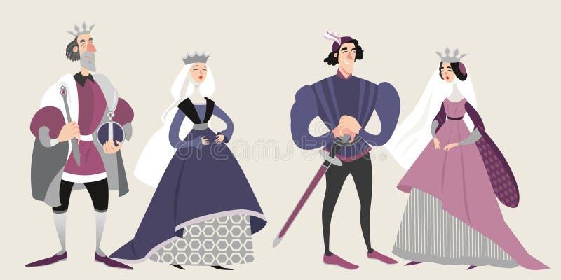 La famille royale Moyens Âges Personnages de dessin animé drôles dans des costumes historiques illustration libre de droits