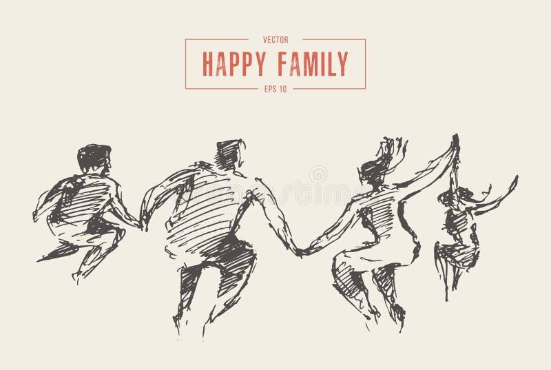 La famille sautent le vecteur de liberté de bonheur de joie ensemble illustration de vecteur