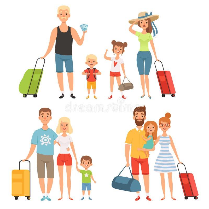 La famille va aux vacances d'été Déplacement heureux de famille illustration de vecteur