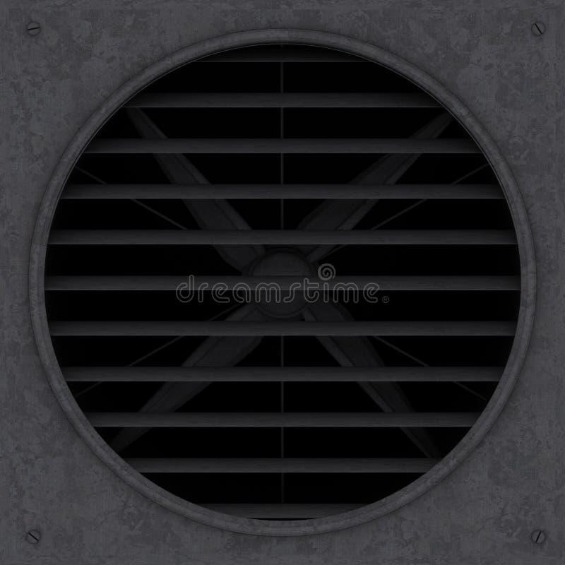 La fan de ventilación oxidada vieja con el ejemplo de la persiana 3d rinde fotos de archivo