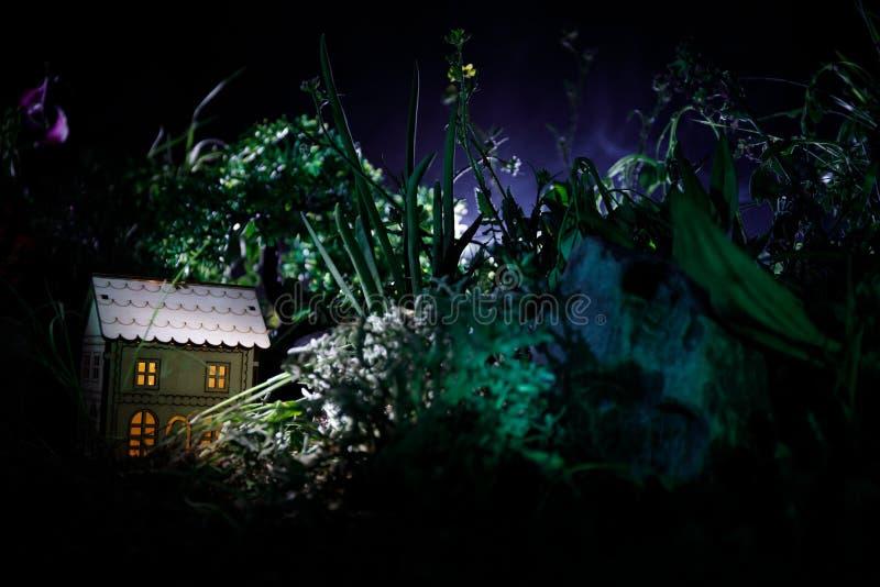 La fantasía adornó la foto Pequeña casa hermosa en hierba con la luz Casa vieja en bosque en la noche con la luna Foco selectivo fotografía de archivo libre de regalías