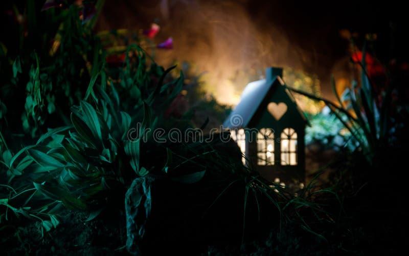La fantasía adornó la foto Pequeña casa hermosa en hierba con la luz Casa vieja en bosque en la noche con la luna Foco selectivo imagenes de archivo
