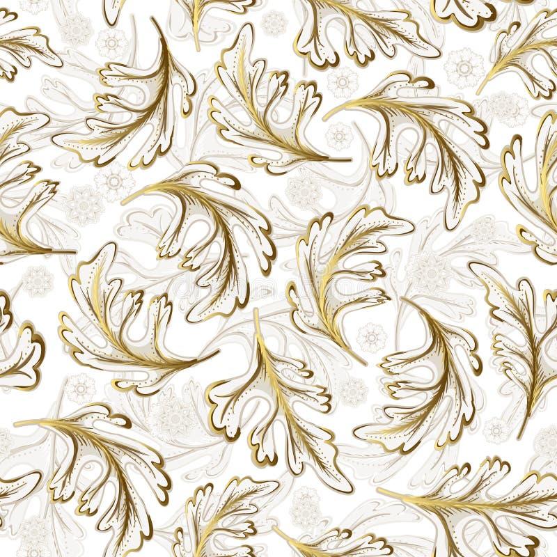 La fantasía de dibujo del oro blanco de la mano adornada delicada deja el modelo inconsútil libre illustration