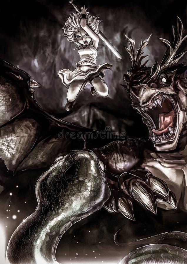 La fantasía que dibuja a la muchacha del guerrero de A está luchando una serpiente gigante stock de ilustración