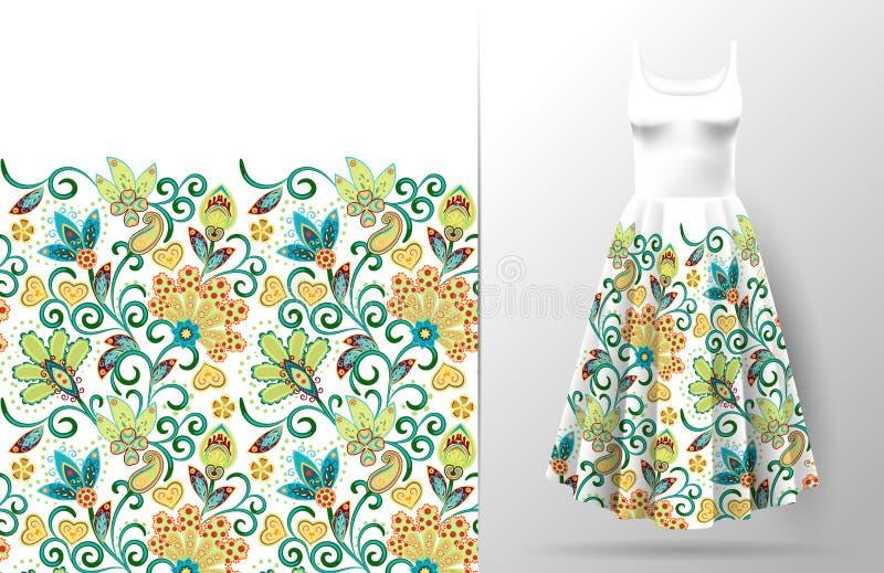 La fantasía vertical inconsútil florece el modelo de la frontera Fondo floral del drenaje de la mano en maqueta del vestido Vecto ilustración del vector