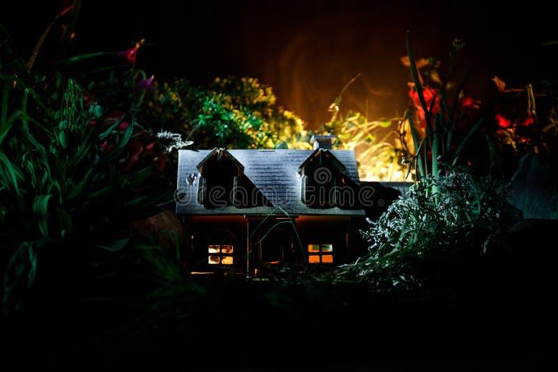 La fantasia ha decorato la foto Piccola bella casa in erba con luce Vecchia casa in foresta alla notte con la luna Fuoco selettiv fotografia stock