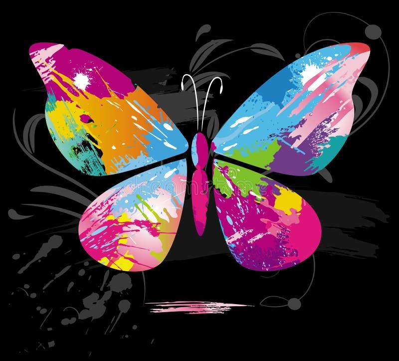 La farfalla da colore spruzza e riga spazzole illustrazione vettoriale