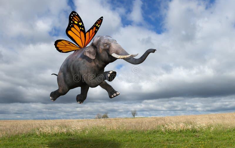 La farfalla di monarca surreale traversa l'elefante volando illustrazione vettoriale