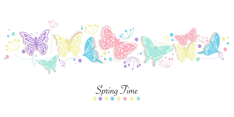 La farfalla ed i fiori sottraggono il fondo di vettore dell'insegna di tempo di molla royalty illustrazione gratis