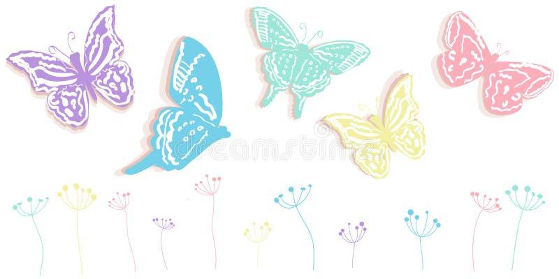 La farfalla ed i fiori sottraggono il fondo di vettore dell'insegna di tempo di molla illustrazione vettoriale