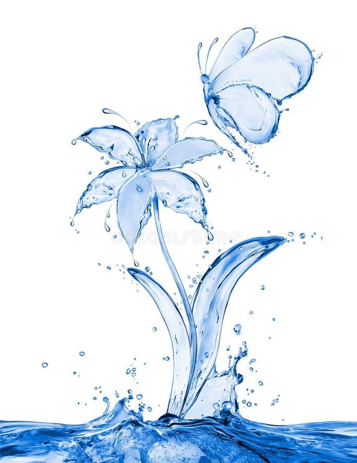 La farfalla ed il fiore fatti dell'acqua spruzza immagine stock