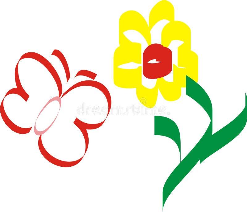 La farfalla un fiore illustrazione vettoriale
