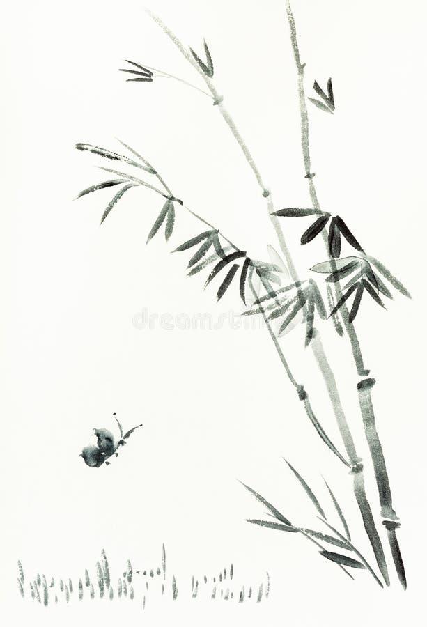 La farfalla vicino al cespuglio di bambù è disegnata a mano su carta royalty illustrazione gratis