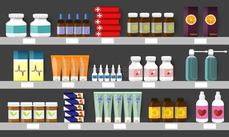 La farmacia accantona con le bottiglie, gli spruzzi e le pillole della medicina Illustrazione di vettore illustrazione di stock