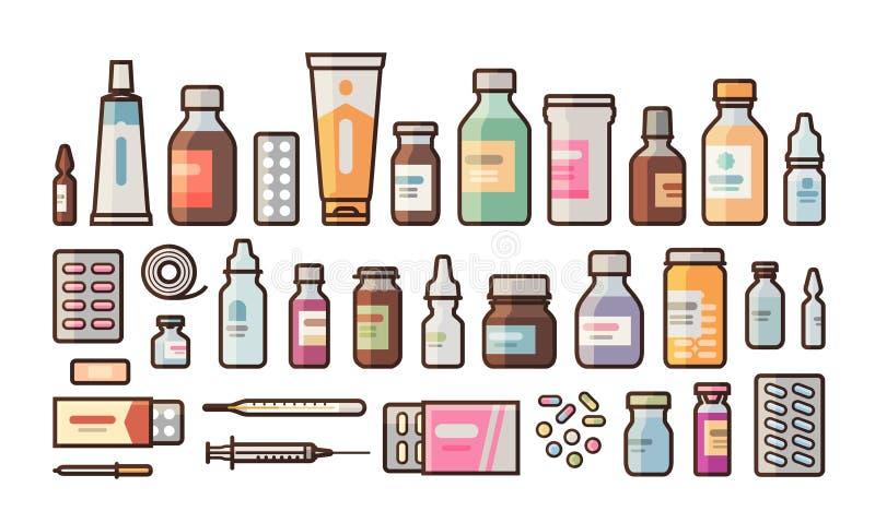 La farmacia, medicación, botellas, píldoras, cápsulas fijó iconos Droguería, medicina, concepto del hospital Ejemplo del vector e stock de ilustración