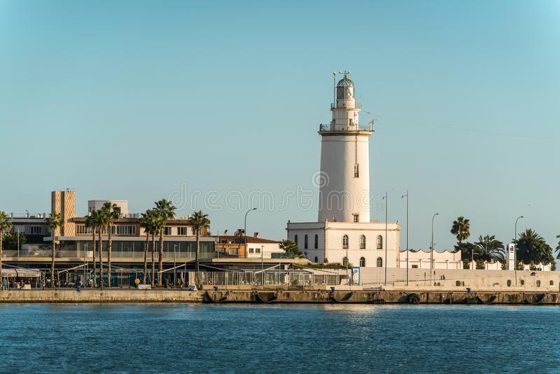 La Farola de Malaga do farol em Malaga, Espanha imagem de stock