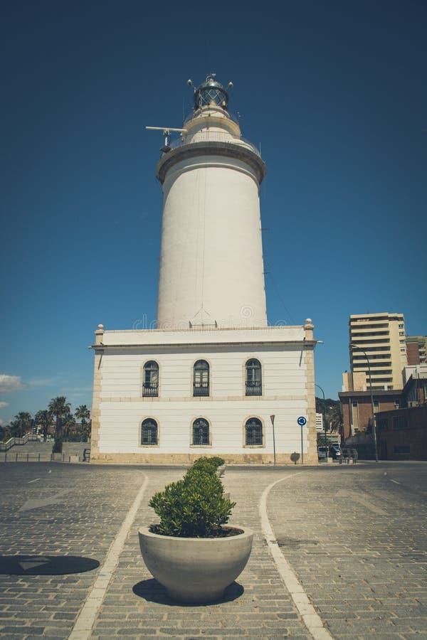 La Farola, faro de Málaga imagenes de archivo