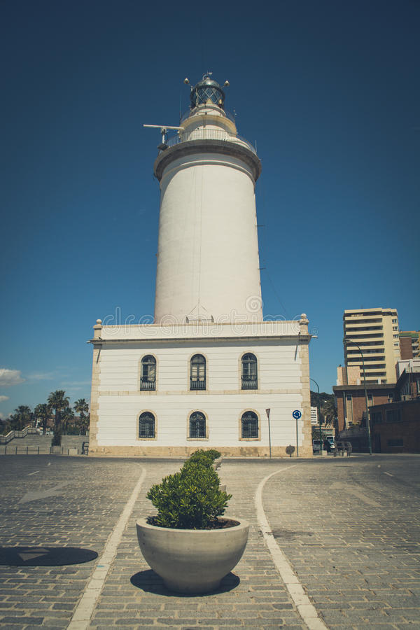 La Farola, farol de Malaga imagens de stock