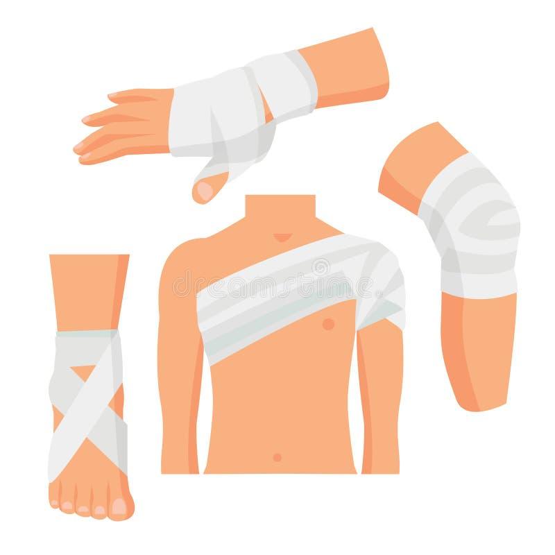 La fasciatura medica elastica ha messo le parti del corpo Vettore royalty illustrazione gratis