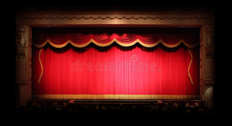 La fase genuina copre all'interno di un teatro fotografia stock
